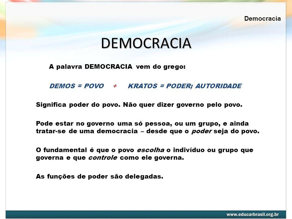 DEMOCRACIA A palavra DEMOCRACIA vem do grego: DEMOS = POVO + KRATOS = PODER; AUTORIDADE Significa poder do povo. Não quer dizer governo pelo povo. Pod