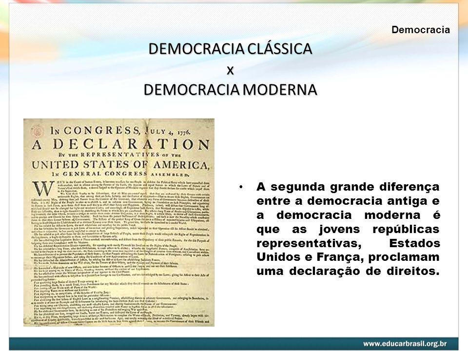A segunda grande diferença entre a democracia antiga e a democracia moderna é que as jovens repúblicas representativas, Estados Unidos e França, procl
