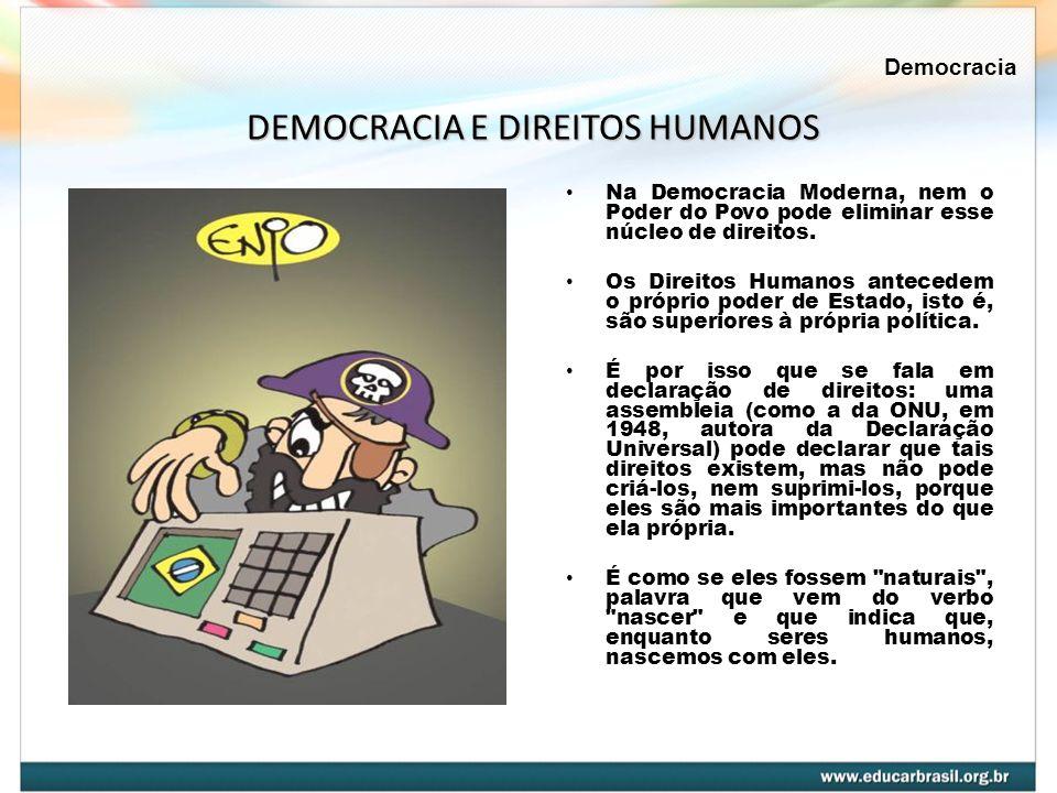 Na Democracia Moderna, nem o Poder do Povo pode eliminar esse núcleo de direitos. Os Direitos Humanos antecedem o próprio poder de Estado, isto é, são