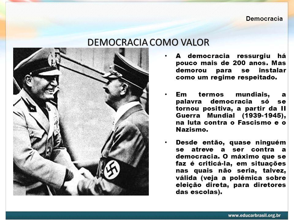 A democracia ressurgiu há pouco mais de 200 anos. Mas demorou para se instalar como um regime respeitado. Em termos mundiais, a palavra democracia só