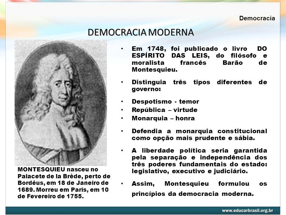 Em 1748, foi publicado o livro DO ESPÍRITO DAS LEIS, do filósofo e moralista francês Barão de Montesquieu. Distinguia três tipos diferentes de governo