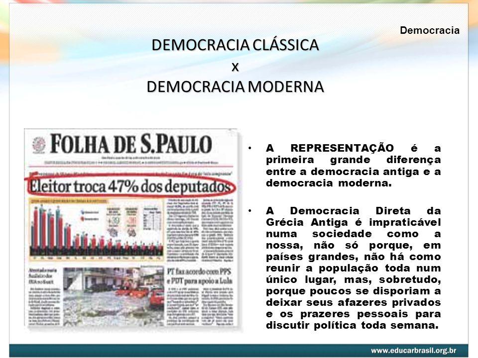 A REPRESENTAÇÃO é a primeira grande diferença entre a democracia antiga e a democracia moderna. A Democracia Direta da Grécia Antiga é impraticável nu