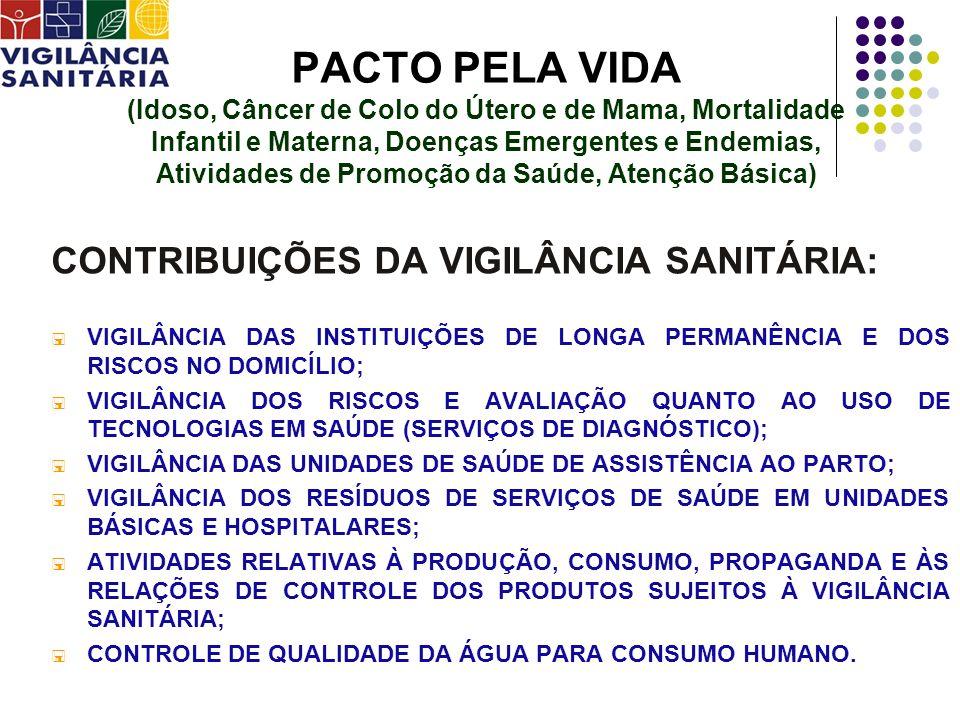 PACTO EM DEFESA DO SUS CONTRIBUIÇÕES DA VIGILÂNCIA SANITÁRIA: ATIVIDADES QUE ENVOLVEM A PARTICIPAÇÃO E O CONTROLE SOCIAL (Consulta Pública, audiência pública, câmaras técnicas setoriais) PRODUÇÃO E DISSEMINAÇÃO DA INFORMAÇÃO(ALERTAS, INFORMES TÉCNICOS,ETC); ORGANIZAR O ACOLHIMENTO DAS QUEIXAS E DAS DENÚNCIAS(INTEGRAÇÃO COM OS SERVIÇOS DE OUVIDORIA); SENSIBILIZAÇÃO E QUALIFICAÇÃO DOS TRABALHADORES DE SAÚDE, PARA ATUAÇÃO JUNTO À COMUNIDADE, FORTALECENDO A COMPREENSÃO, MOBILIZAÇÃO E INFORMAÇÃO EM VIGILÂNCIA SANITÁRIA.