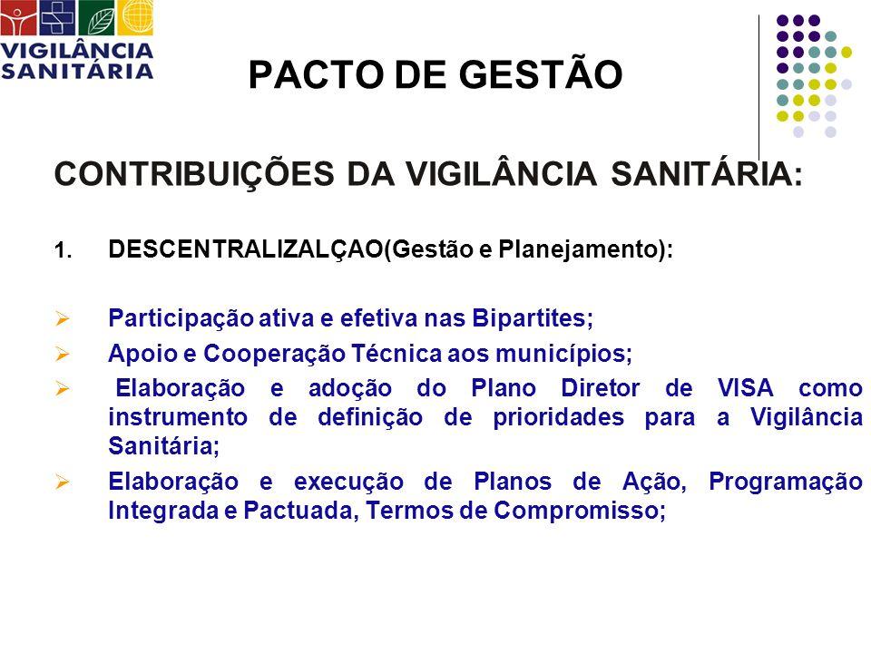 PACTO DE GESTÃO CONTRIBUIÇÕES DA VIGILÂNCIA SANITÁRIA: 1. DESCENTRALIZALÇAO(Gestão e Planejamento): Participação ativa e efetiva nas Bipartites; Apoio