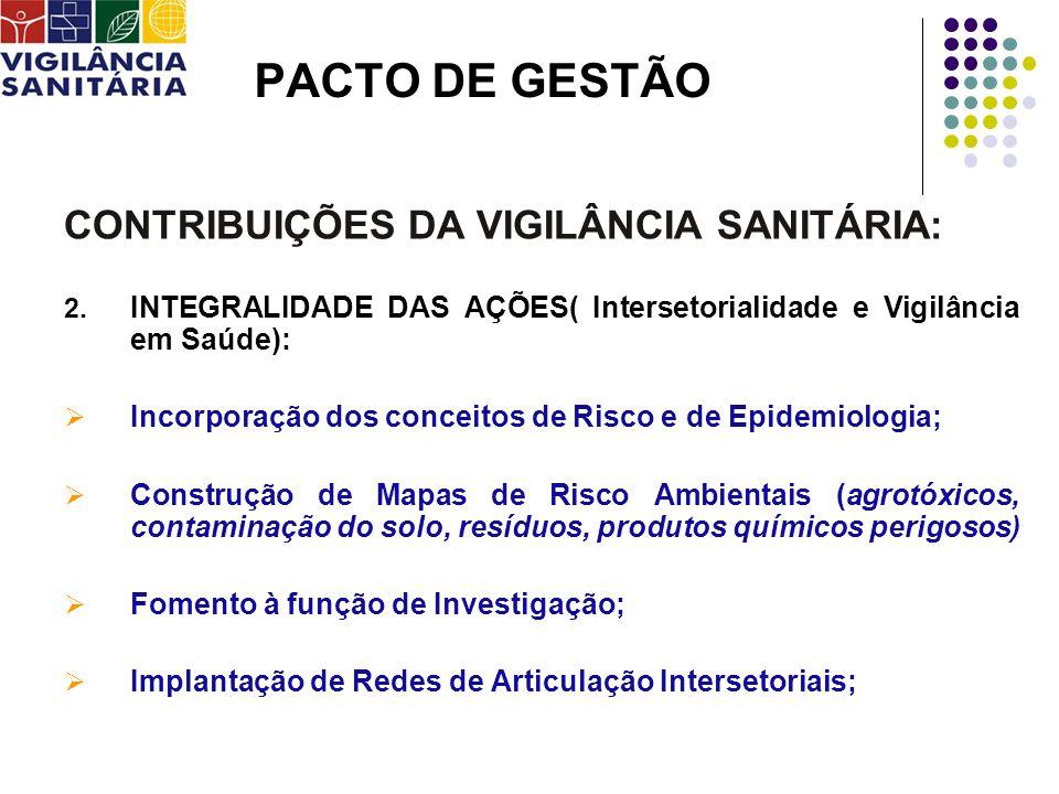 PACTO DE GESTÃO CONTRIBUIÇÕES DA VIGILÂNCIA SANITÁRIA: 2. INTEGRALIDADE DAS AÇÕES( Intersetorialidade e Vigilância em Saúde): Incorporação dos conceit