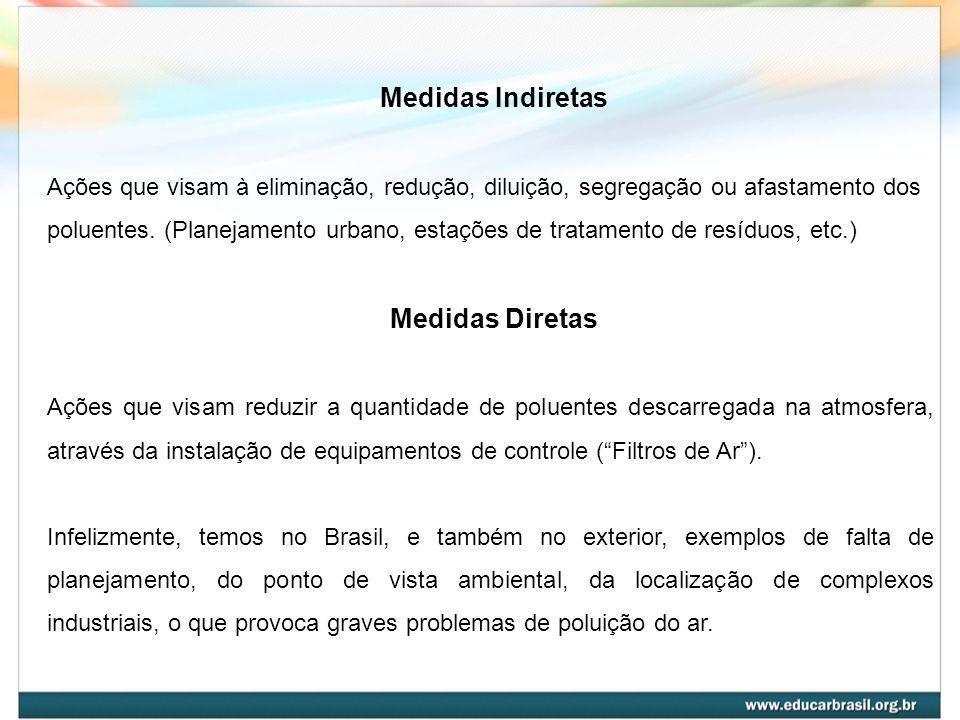 Medidas Indiretas Ações que visam à eliminação, redução, diluição, segregação ou afastamento dos poluentes. (Planejamento urbano, estações de tratamen