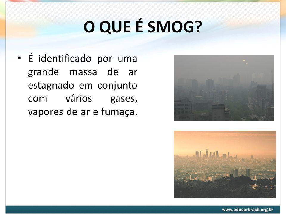 O QUE É SMOG? É identificado por uma grande massa de ar estagnado em conjunto com vários gases, vapores de ar e fumaça.