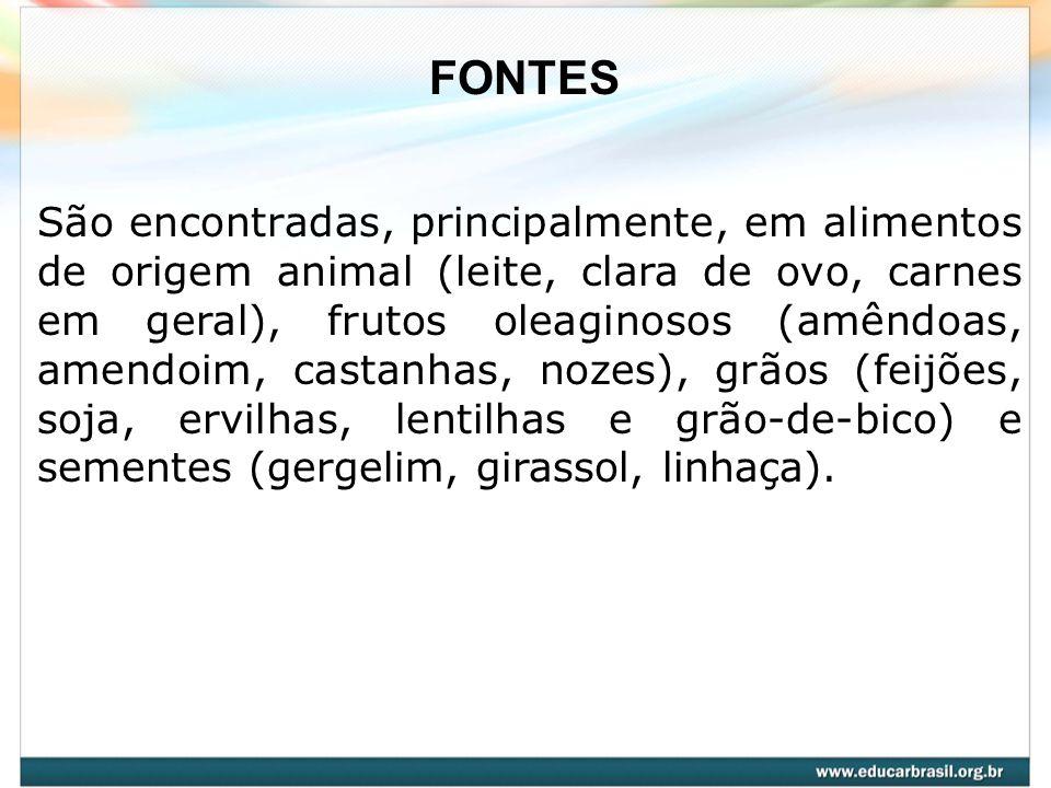 São encontradas, principalmente, em alimentos de origem animal (leite, clara de ovo, carnes em geral), frutos oleaginosos (amêndoas, amendoim, castanh