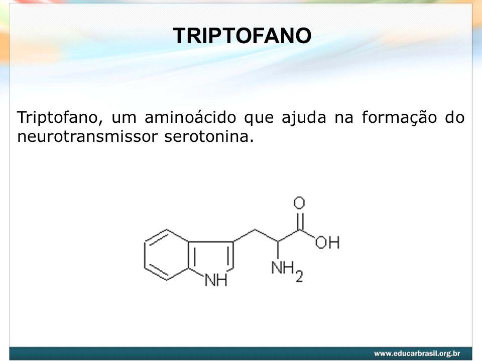 Triptofano, um aminoácido que ajuda na formação do neurotransmissor serotonina. TRIPTOFANO