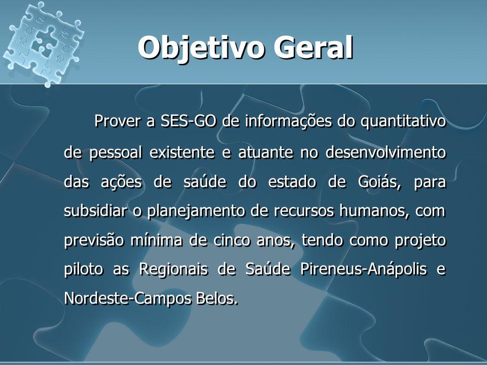 Objetivo Geral Prover a SES-GO de informações do quantitativo de pessoal existente e atuante no desenvolvimento das ações de saúde do estado de Goiás,