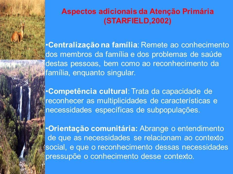 Aspectos adicionais da Atenção Primária (STARFIELD,2002) Centralização na família: Remete ao conhecimento dos membros da família e dos problemas de sa