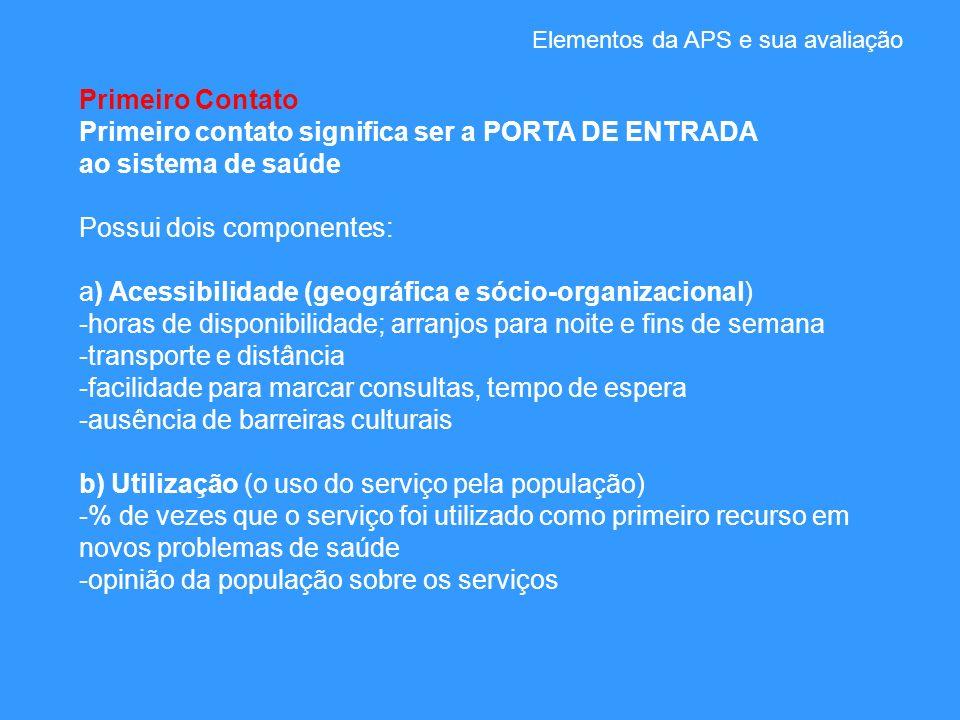 Elementos da APS e sua avaliação Primeiro Contato Primeiro contato significa ser a PORTA DE ENTRADA ao sistema de saúde Possui dois componentes: a) Ac
