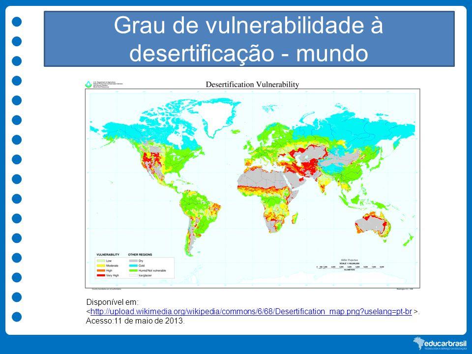 Grau de vulnerabilidade à desertificação - mundo Disponível em:. Acesso:11 de maio de 2013.http://upload.wikimedia.org/wikipedia/commons/6/68/Desertif