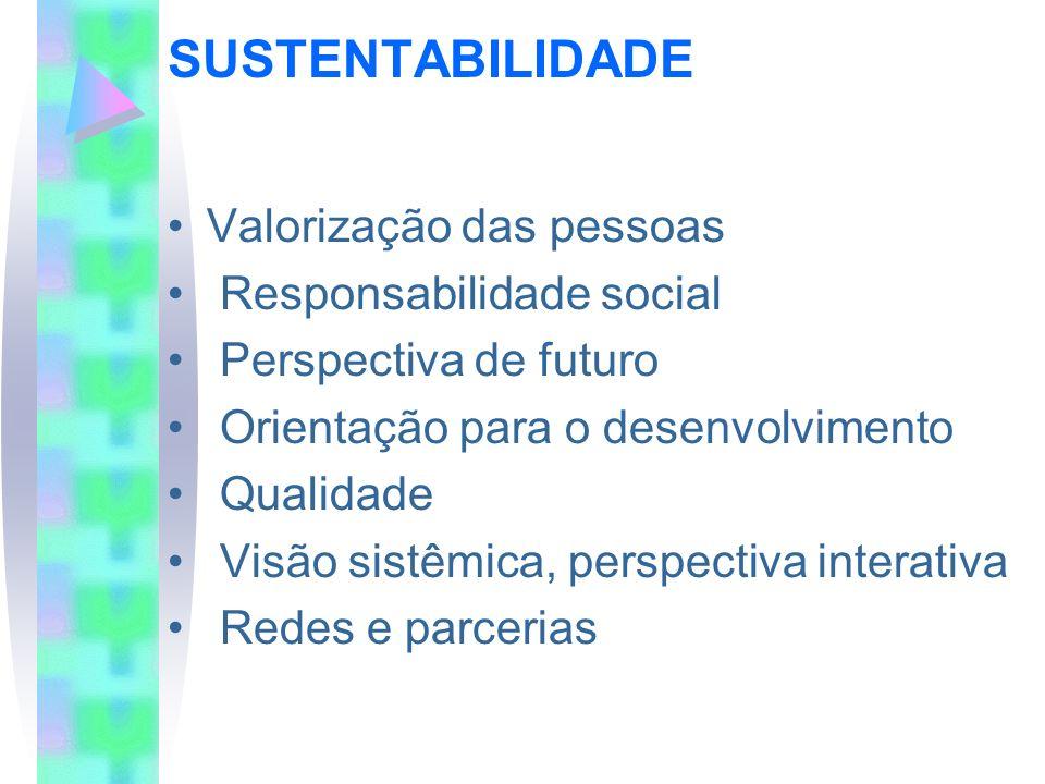 SUSTENTABILIDADE Valorização das pessoas Responsabilidade social Perspectiva de futuro Orientação para o desenvolvimento Qualidade Visão sistêmica, pe