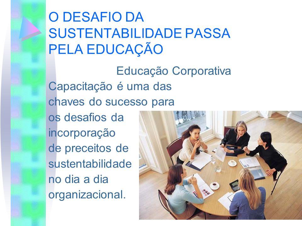 O DESAFIO DA SUSTENTABILIDADE PASSA PELA EDUCAÇÃO Educação Corporativa Capacitação é uma das chaves do sucesso para os desafios da incorporação de pre