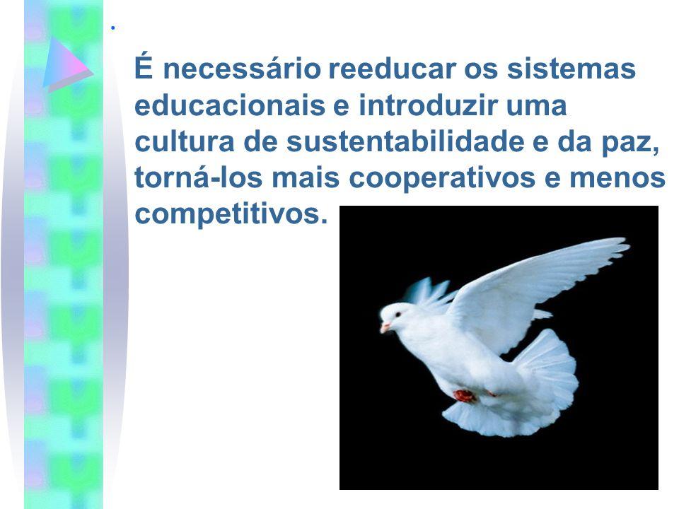 . É necessário reeducar os sistemas educacionais e introduzir uma cultura de sustentabilidade e da paz, torná-los mais cooperativos e menos competitiv