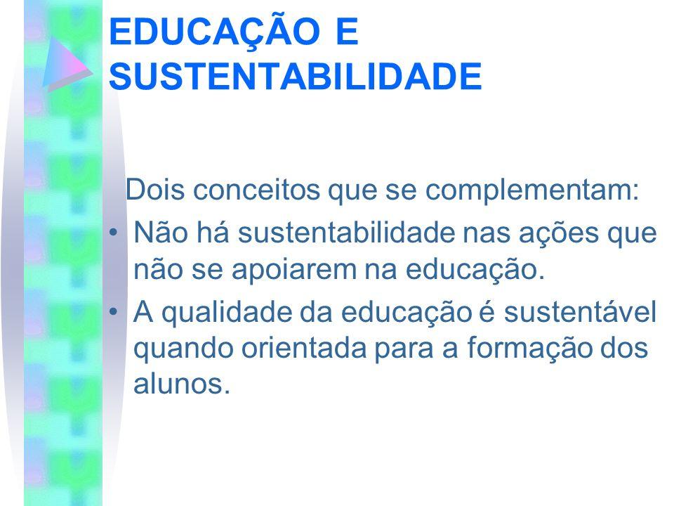 EDUCAÇÃO E SUSTENTABILIDADE Dois conceitos que se complementam: Não há sustentabilidade nas ações que não se apoiarem na educação. A qualidade da educ