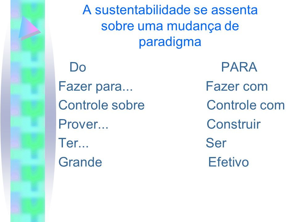 A sustentabilidade se assenta sobre uma mudança de paradigma Do PARA Fazer para... Fazer com Controle sobre Controle com Prover... Construir Ter... Se