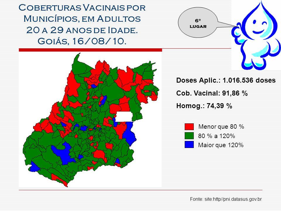 Coberturas Vacinais por Municípios, em Adultos 20 a 29 anos de Idade.