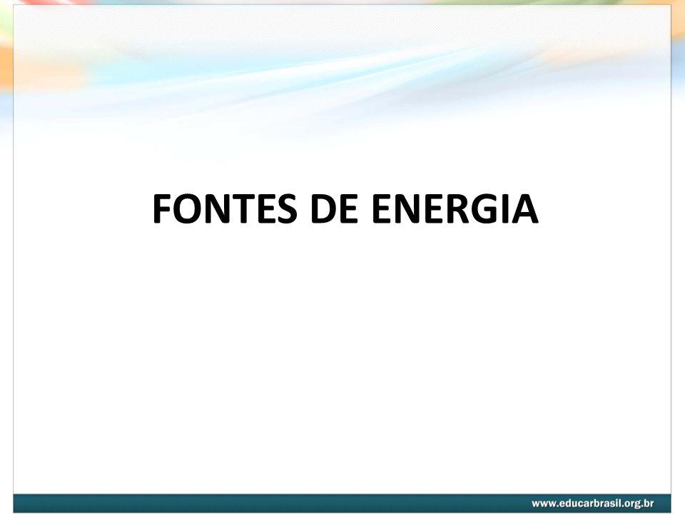 Fontes de energia Capacidade de realizar trabalho Elementos determinantes para produzir e/ou multiplicar trabalho Os músculos O Sol As águas correntes O vento Os combustíveis Os minerais A energia é um elemento básico para a sociedade moderna, pois é por seu intermédio que as máquinas e os motores funcionam ou que as luzes acendem