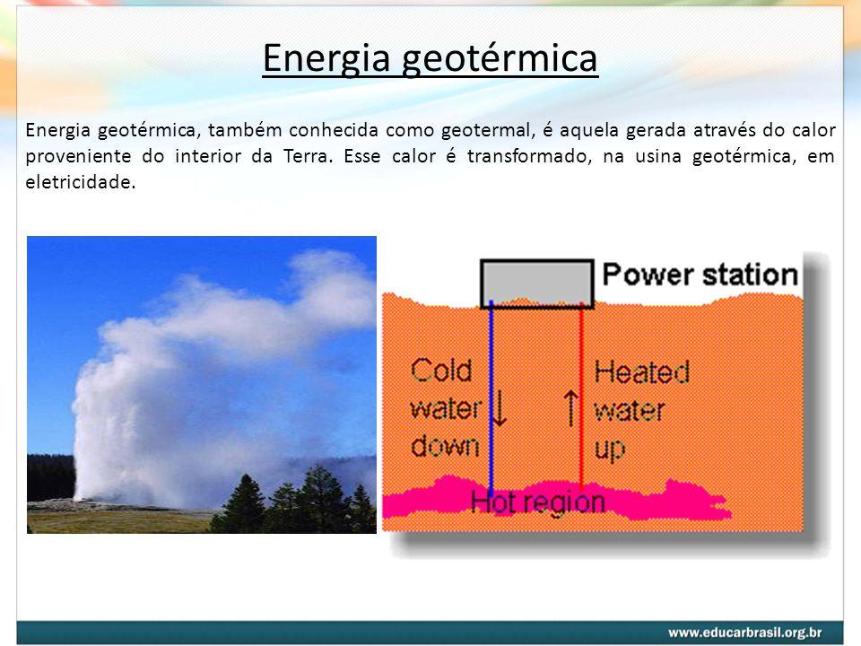 Energia geotérmica, também conhecida como geotermal, é aquela gerada através do calor proveniente do interior da Terra. Esse calor é transformado, na