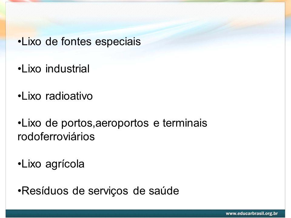 Lixo de fontes especiais Lixo industrial Lixo radioativo Lixo de portos,aeroportos e terminais rodoferroviários Lixo agrícola Resíduos de serviços de