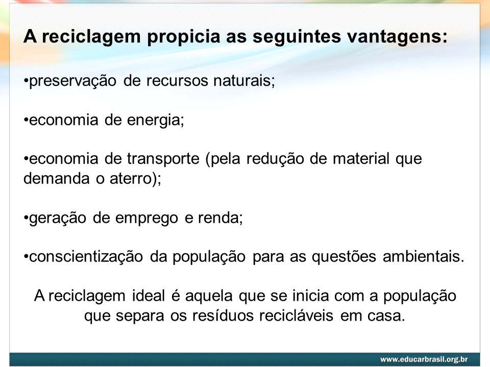 A reciclagem propicia as seguintes vantagens: preservação de recursos naturais; economia de energia; economia de transporte (pela redução de material