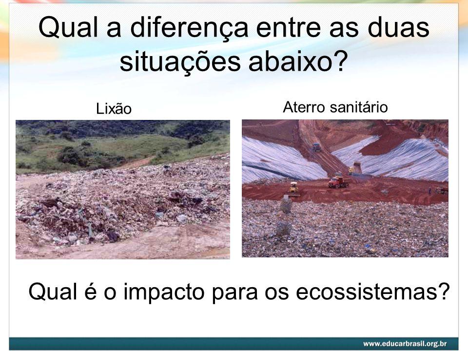 Qual a diferença entre as duas situações abaixo? Qual é o impacto para os ecossistemas? Lixão Aterro sanitário