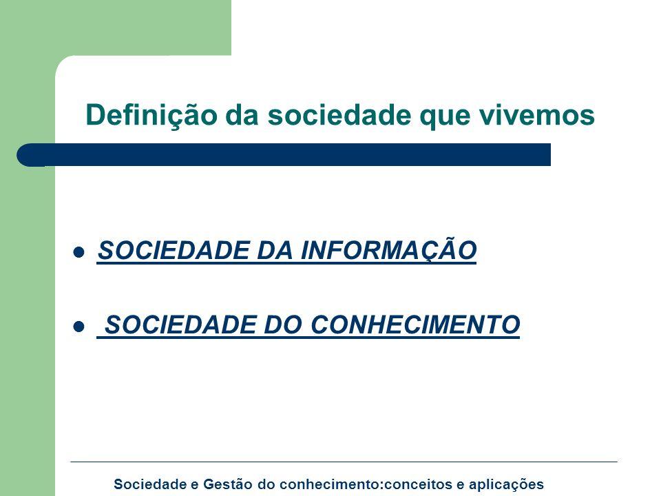 Definição da sociedade que vivemos SOCIEDADE DA INFORMAÇÃO SOCIEDADE DO CONHECIMENTO Sociedade e Gestão do conhecimento:conceitos e aplicações