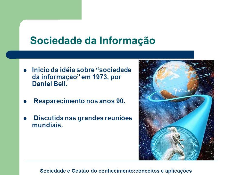 Sociedade da Informação Inicio da idéia sobre sociedade da informação em 1973, por Daniel Bell. Reaparecimento nos anos 90. Discutida nas grandes reun