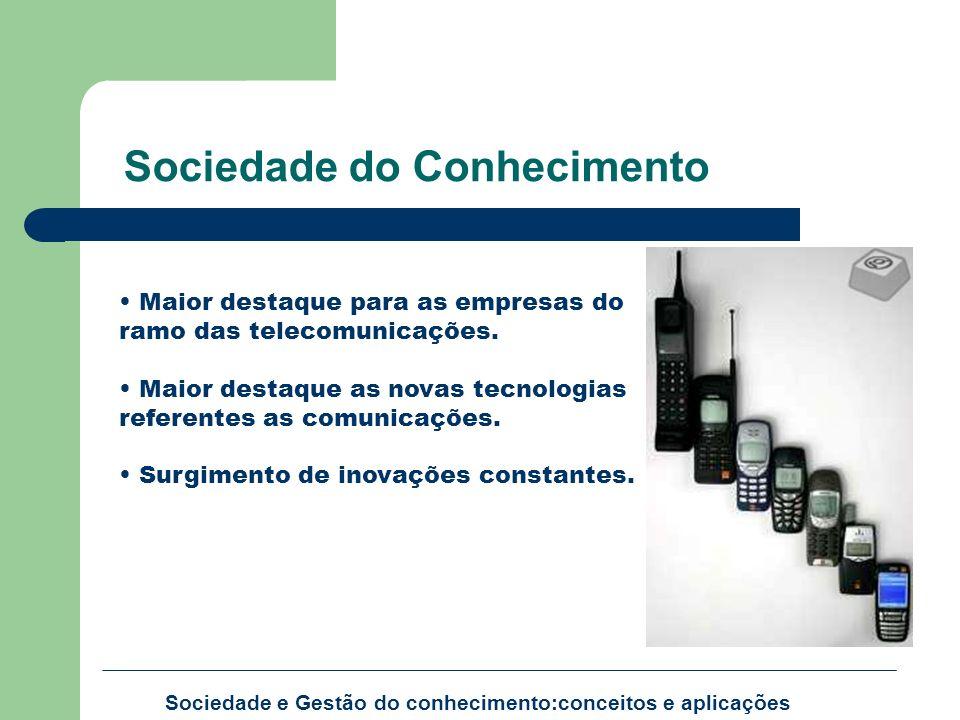 Sociedade e Gestão do conhecimento:conceitos e aplicações Maior destaque para as empresas do ramo das telecomunicações. Maior destaque as novas tecnol