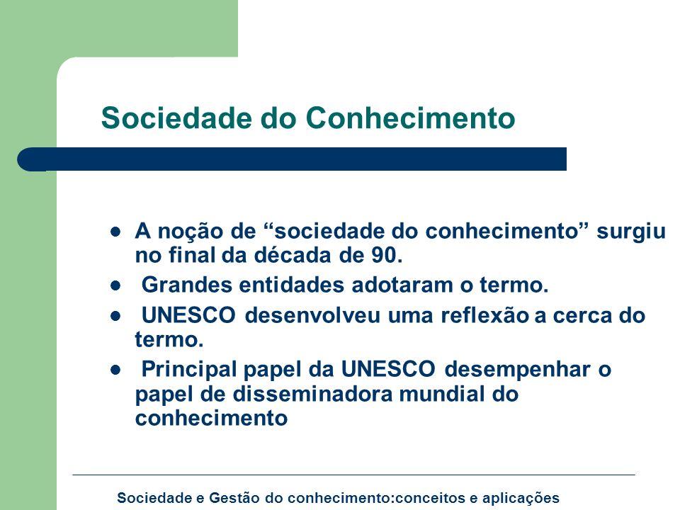 Sociedade do Conhecimento A noção de sociedade do conhecimento surgiu no final da década de 90. Grandes entidades adotaram o termo. UNESCO desenvolveu