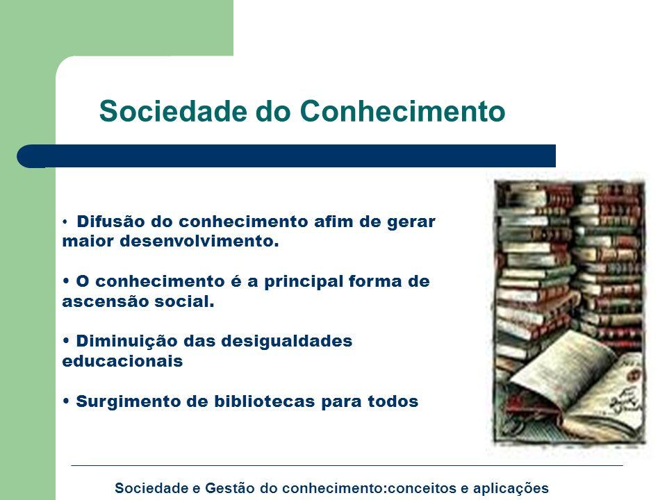 Sociedade e Gestão do conhecimento:conceitos e aplicações Difusão do conhecimento afim de gerar maior desenvolvimento. O conhecimento é a principal fo