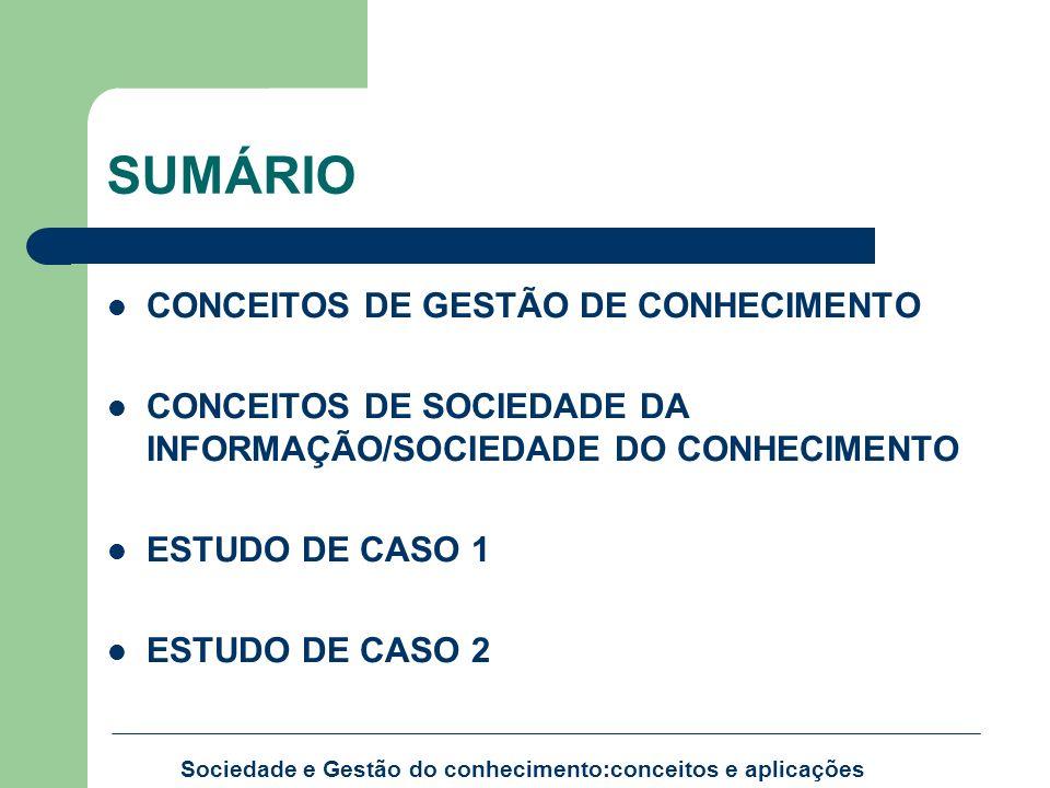 SUMÁRIO CONCEITOS DE GESTÃO DE CONHECIMENTO CONCEITOS DE SOCIEDADE DA INFORMAÇÃO/SOCIEDADE DO CONHECIMENTO ESTUDO DE CASO 1 ESTUDO DE CASO 2 Sociedade