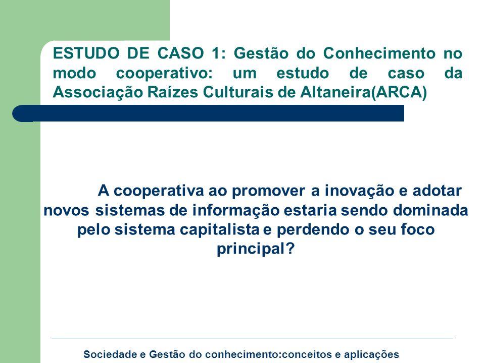 Sociedade e Gestão do conhecimento:conceitos e aplicações ESTUDO DE CASO 1: Gestão do Conhecimento no modo cooperativo: um estudo de caso da Associaçã