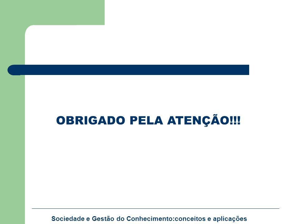 Sociedade e Gestão do Conhecimento:conceitos e aplicações OBRIGADO PELA ATENÇÃO!!!