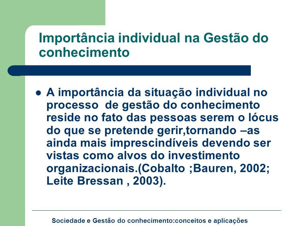 Importância individual na Gestão do conhecimento A importância da situação individual no processo de gestão do conhecimento reside no fato das pessoas