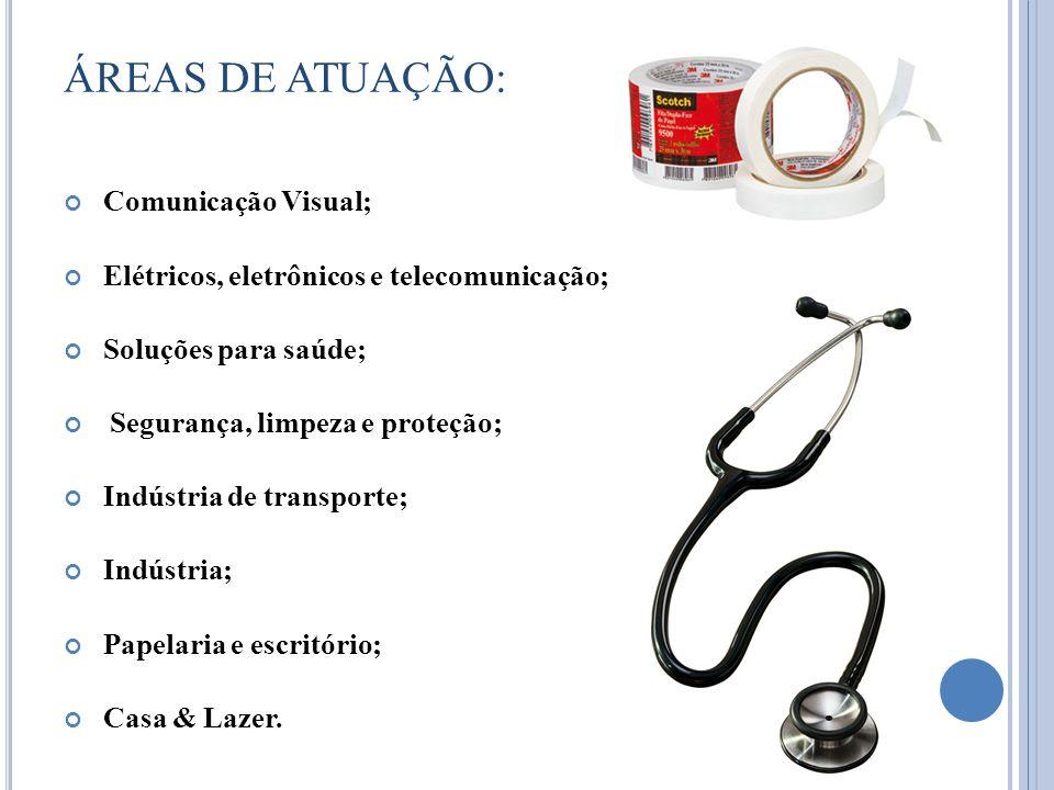 ÁREAS DE ATUAÇÃO: Comunicação Visual; Elétricos, eletrônicos e telecomunicação; Soluções para saúde; Segurança, limpeza e proteção; Indústria de trans