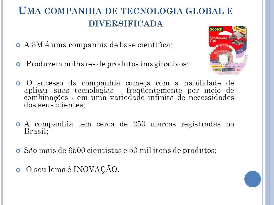 U MA COMPANHIA DE TECNOLOGIA GLOBAL E DIVERSIFICADA A 3M é uma companhia de base científica; Produzem milhares de produtos imaginativos; O sucesso da