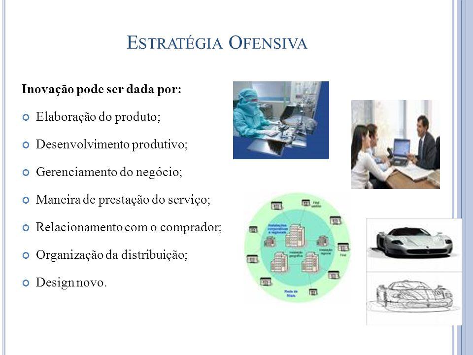 Inovação pode ser dada por: Elaboração do produto; Desenvolvimento produtivo; Gerenciamento do negócio; Maneira de prestação do serviço; Relacionament
