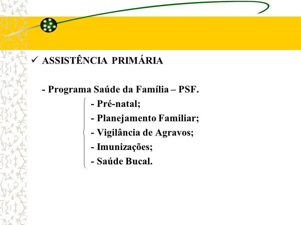 ASSISTÊNCIA PRIMÁRIA - Programa Saúde da Família – PSF. - Pré-natal; - Planejamento Familiar; - Vigilância de Agravos; - Imunizações; - Saúde Bucal.