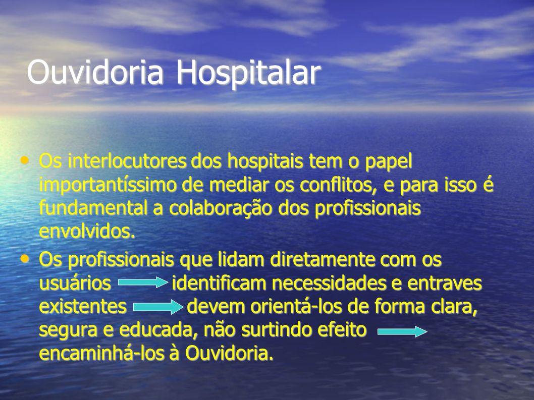 Ouvidoria Hospitalar Os interlocutores dos hospitais tem o papel importantíssimo de mediar os conflitos, e para isso é fundamental a colaboração dos p