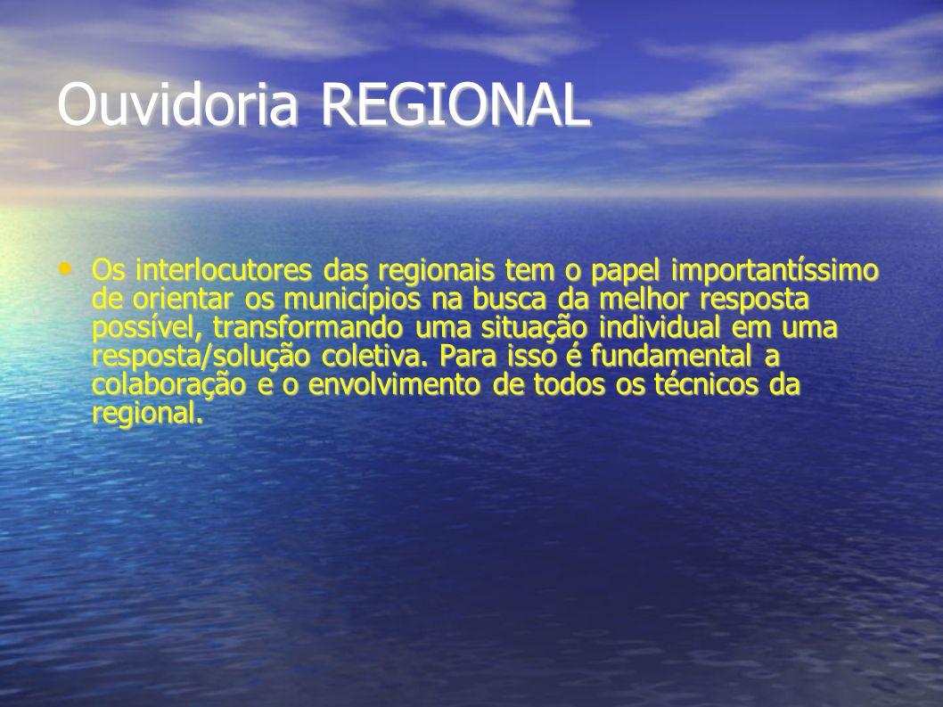 Ouvidoria REGIONAL Os interlocutores das regionais tem o papel importantíssimo de orientar os municípios na busca da melhor resposta possível, transfo