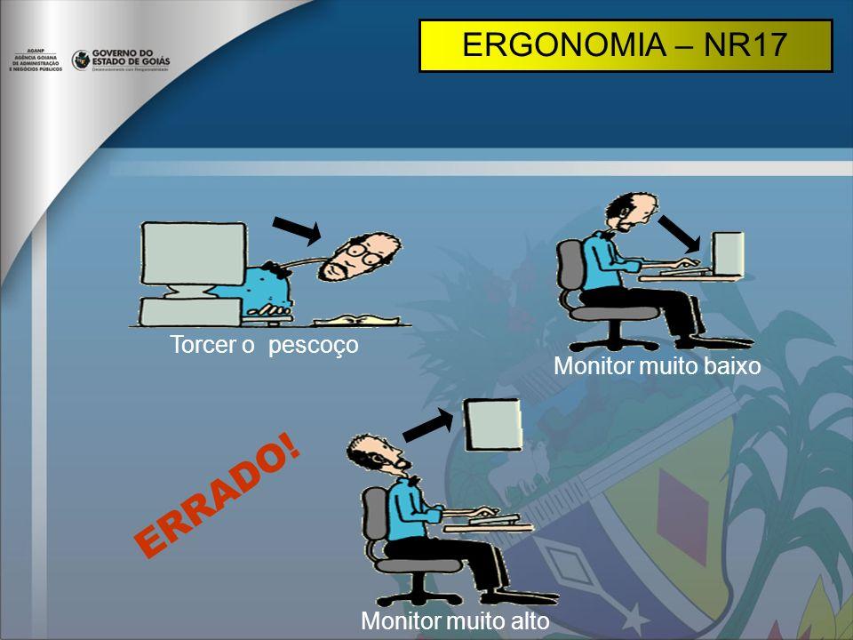 Torcer o pescoço Monitor muito baixo Monitor muito alto ERGONOMIA – NR17 ERRADO!