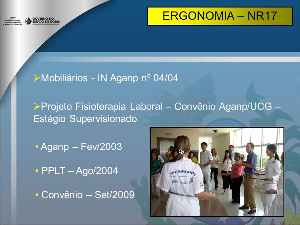 Mobiliários - IN Aganp nº 04/04 Projeto Fisioterapia Laboral – Convênio Aganp/UCG – Estágio Supervisionado Aganp – Fev/2003 PPLT – Ago/2004 Convênio –