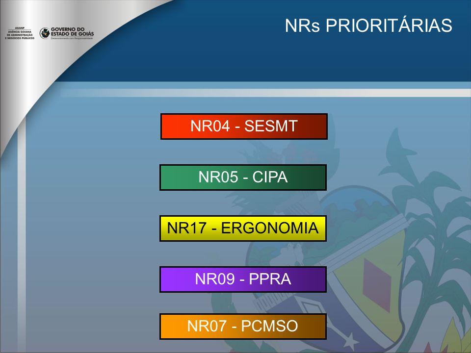 NRs PRIORITÁRIAS NR04 - SESMT NR05 - CIPA NR17 - ERGONOMIA NR09 - PPRA NR07 - PCMSO