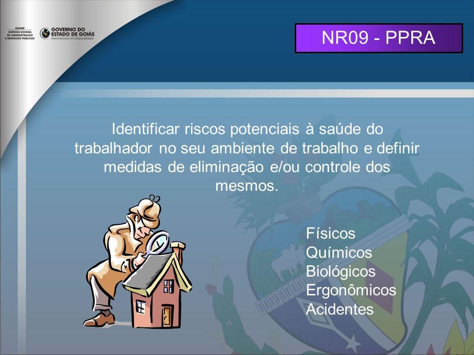 NR09 - PPRA Identificar riscos potenciais à saúde do trabalhador no seu ambiente de trabalho e definir medidas de eliminação e/ou controle dos mesmos.