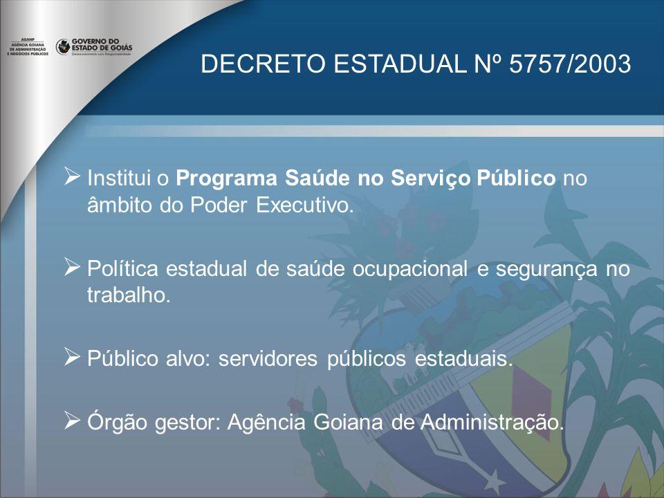 DECRETO ESTADUAL Nº 5757/2003 Institui o Programa Saúde no Serviço Público no âmbito do Poder Executivo. Política estadual de saúde ocupacional e segu