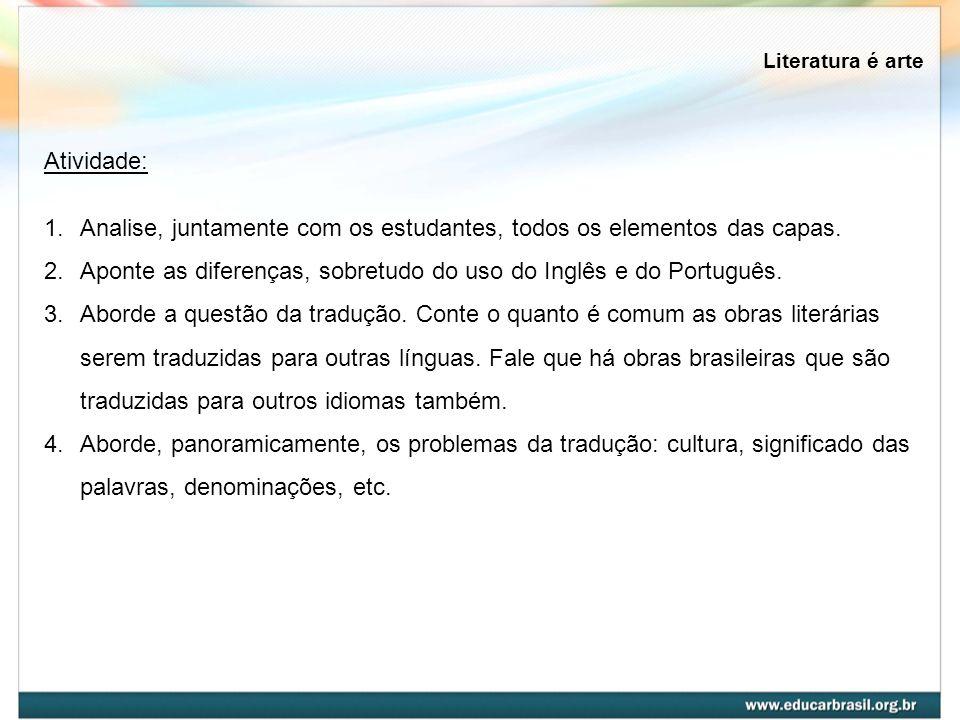 Literatura é arte Atividade: 1.Analise, juntamente com os estudantes, todos os elementos das capas. 2.Aponte as diferenças, sobretudo do uso do Inglês