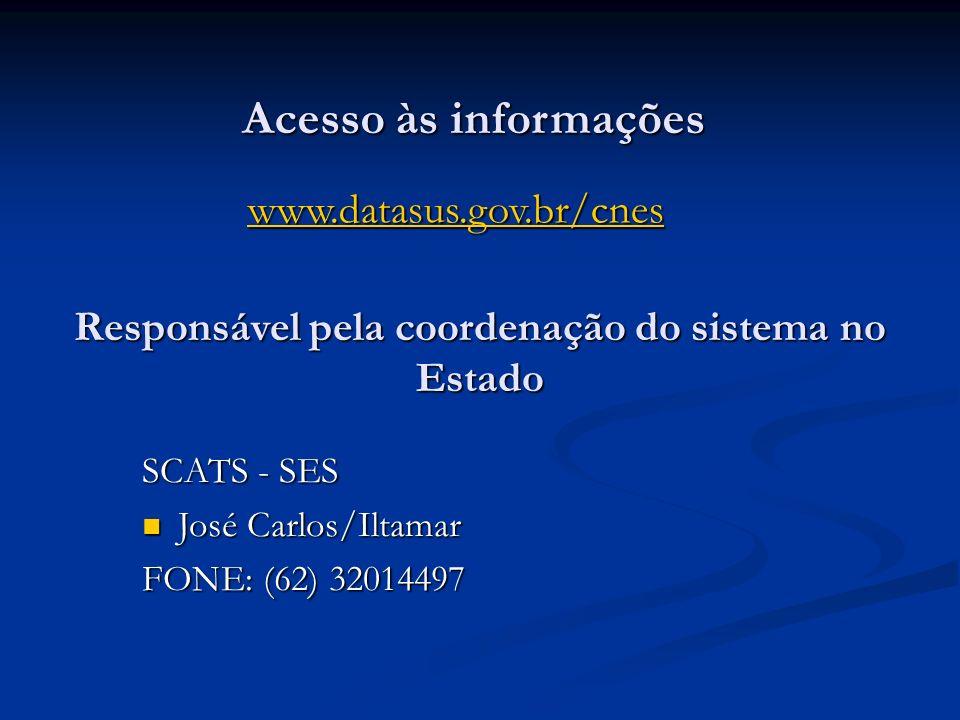 Acesso às informações www.datasus.gov.br/cnes Responsável pela coordenação do sistema no Estado SCATS - SES José Carlos/Iltamar José Carlos/Iltamar FO